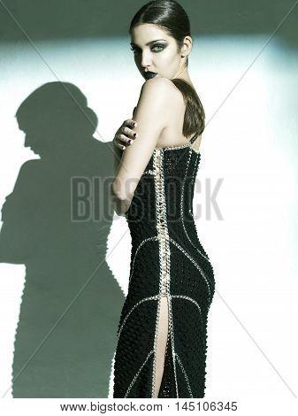 image of fashion woman wearing cool designer clothing