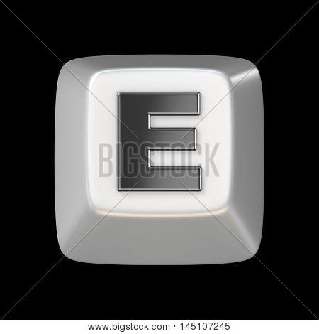 Computer Keyboard Key Font. Letter E 3D