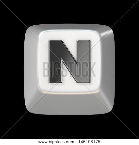 Computer Keyboard Key Font. Letter N 3D