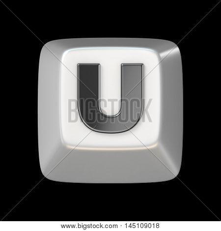 Computer Keyboard Key Font. Letter U 3D
