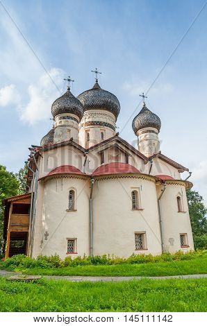 Old medieval church of St Theodore Stratilates on the Shirkov street Veliky Novgorod Russia - facade view. Architecture summer colorful landscape