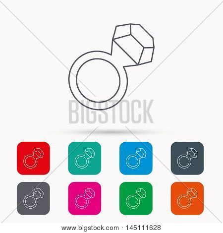 Ring with diamond icon. Jewellery sign. Linear icons in squares on white background. Flat web symbols. Vector