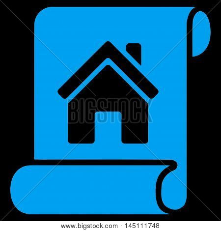 Realty Description Roll icon. Vector style is flat iconic symbol, blue color, black background.