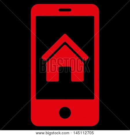 Smartphone Homepage icon. Vector style is flat iconic symbol, red color, black background.