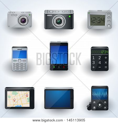 Modern electronic realistic 3d vector icon collection