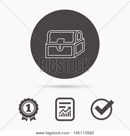 Treasure chest icon. Piratic treasury sign. Wealth symbol. Report document, winner award and tick. Round circle button with icon. Vector