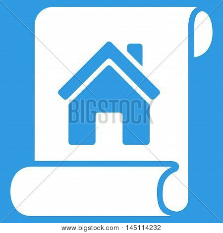 Realty Description Roll icon. Vector style is flat iconic symbol, white color, blue background.