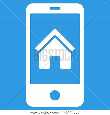 Smartphone Homepage icon. Vector style is flat iconic symbol, white color, blue background.