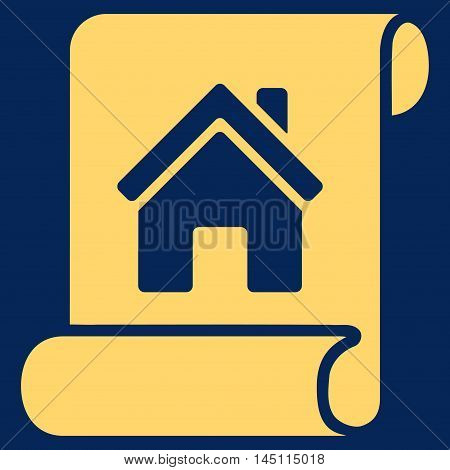 Realty Description Roll icon. Vector style is flat iconic symbol, yellow color, blue background.
