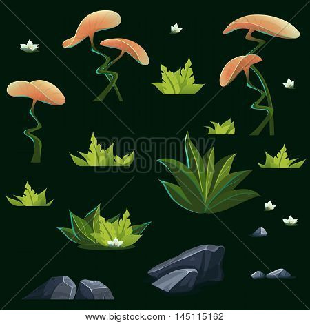 Set of different isolated elements - mysterious orange flowers delicate white lily gray stones bushes green fern