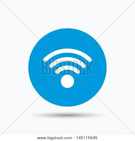 Wifi icon. Wireless internet sign. Communication technology symbol. Blue circle button with flat web icon. Vector