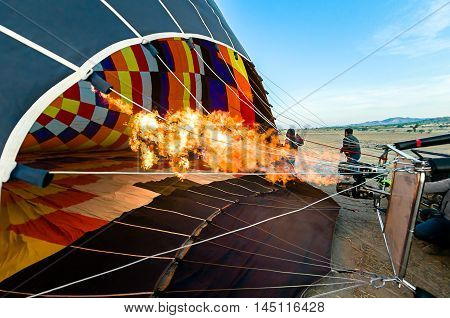 Balloon, Inside View Of A Hot Air Balloon Being Inflated