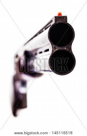 Over-under Shotgun On White
