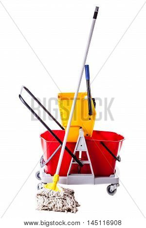 Professional Mop Bucket On White