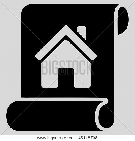 Realty Description Roll icon. Vector style is flat iconic symbol, black color, light gray background.