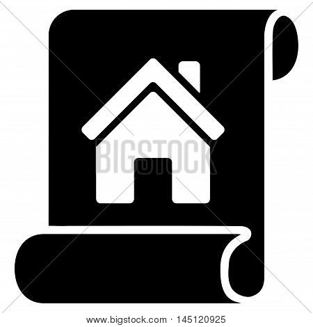 Realty Description Roll icon. Vector style is flat iconic symbol, black color, white background.