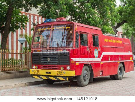 Madurai India - October 19 2013: An Ashok Leyland fire truck is parked on the side of the Meenakshi Temple in Madurai.
