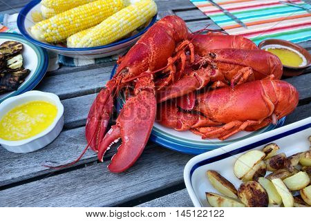 Freshly steamed whole Maine lobsters on plate with butter sauce and vegetables. Selective focus on front part of lobsters.
