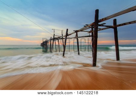 Wooden fisherman bridge at Pang-nga province, Thailand