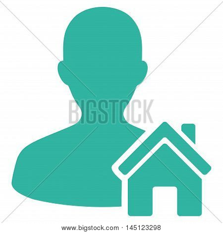 Home User icon. Vector style is flat iconic symbol, cyan color, white background.