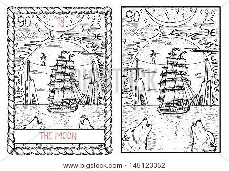 The moon. The major arcana tarot card, vintage hand drawn engraved illustration with mystic symbols. Old sailing ship, equilibrist, towers and two wolves crawling at the huge moon.