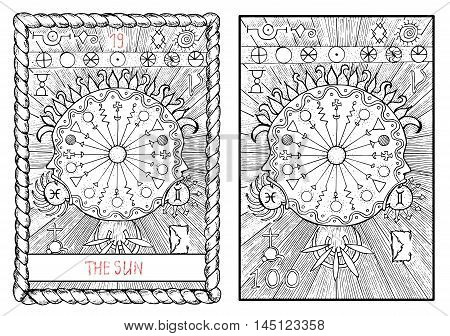 The sun. The major arcana tarot card, vintage hand drawn engraved illustration with mystic symbols.