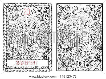 Judgment. The major arcana tarot card, vintage hand drawn engraved illustration with mystic symbols.Scary halloween landscape with old cemetery, graves and ghosts.