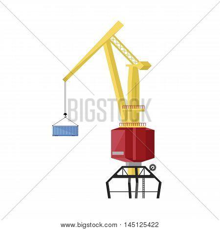 Dockside crane isolated on white background vector illustration
