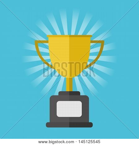 Gold winner cup on blue background, vector illustration in flat style. Trophy cup on blue striped background. Champion concept. Sign of winner. Champion cup. Vector winner cup isolated. Flat style champion cup. Golden cup prize. First place cup.