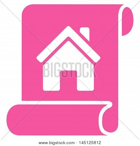 Realty Description Roll icon. Vector style is flat iconic symbol, pink color, white background.
