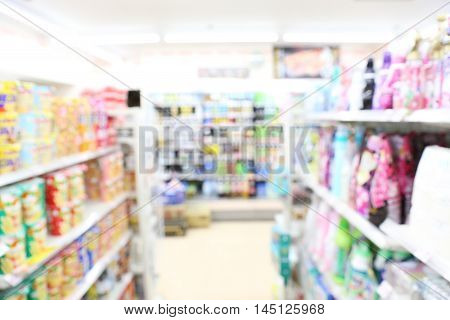 supermarket blur background with bokeh Miscellaneous Product shelf