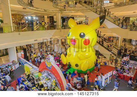 Bangkok Thailand- 10 January 2016:Pikachu balloon in Pokemon Festival at Siam Paragon