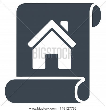 Realty Description Roll icon. Vector style is flat iconic symbol, smooth blue color, white background.