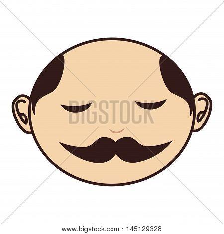 face man moustache bald vector illustration eps 10