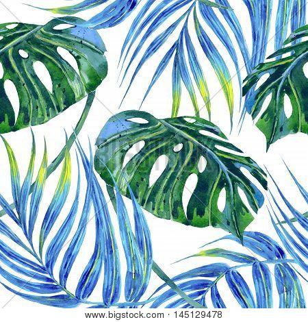Watercolor tropical palm leaves, jungle leaf seamless floral pattern background, botanical illustration