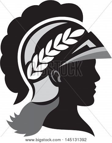 Illustration of a silhouette of Minerva or Menrva the Roman goddess of wisdom and sponsor of arts trade and strategy wearing helmet and laurel crown viewed from side set on isolated white background done in retro style.