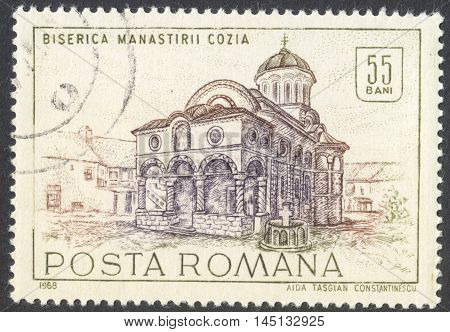 MOSCOW RUSSIA - CIRCA AUGUST 2016: a stamp printed in ROMANIA shows Cozia monastery the series