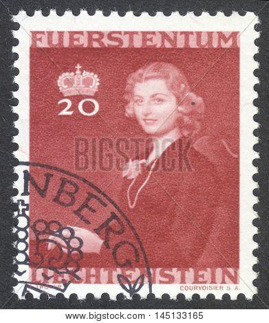 MOSCOW RUSSIA - CIRCA AUGUST 2016: a stamp printed in LIECHTENSTEIN shows portrait of Countess Gina von Wilczek the series