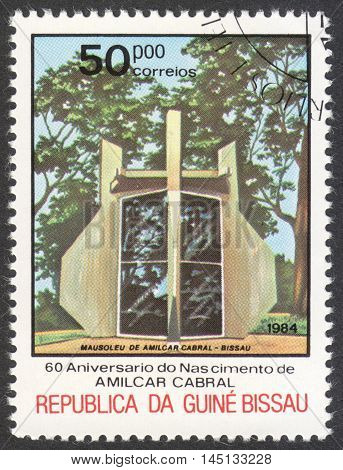 MOSCOW RUSSIA - CIRCA AUGUST 2016: a stamp printed in GUINEA-BISSAU shows the Amilcar Cabral mausoleum the series