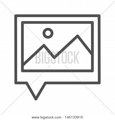 Geo tag photos thin line vector icon isolated on the white background.