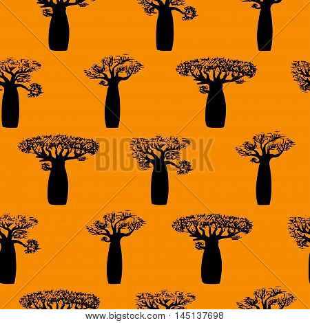 seamless pattern made from hand drawing baobabs.