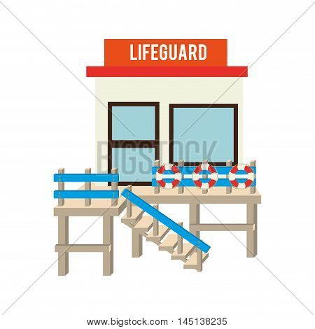 lifeguard station beach design vector illustration eps 10