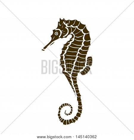 vector illustration of silhuette of seahorse. Seahorse made in one color under the stencil