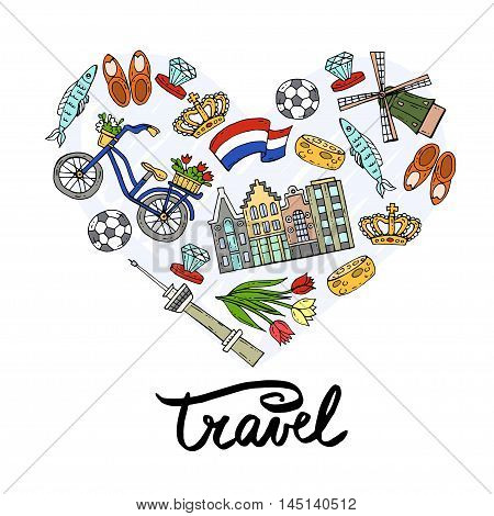 Stylized heart with hand drawn colored symbols of Netherlands. Illustration on the theme of travel and tourism. Vector for use in design