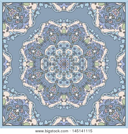 Elegant square blue abstract pattern. Can be used to design pillows, scarves, neckerchief, bandanna, cushion.