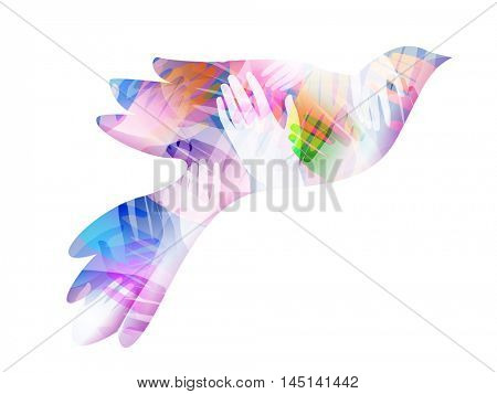 Double Exposure Illustration of Hands Inside a Flying Dove - eps10