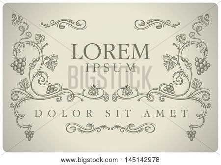 Vector hand drawn floral grape ornate for label