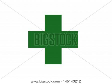 Vector of Japanese cultural flag of safety green cross on white background. Vector illustration flag design.