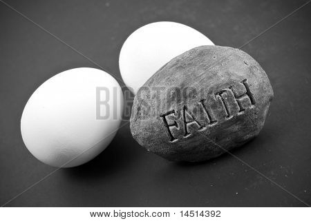 Religious Rock With Eggs (concept Of Easter)