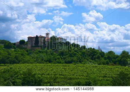 Rosazzo's Abbey and its wineyards, Manzano, Friuli, Italy